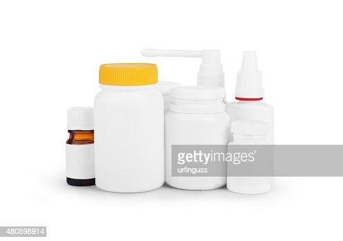 image of various medicinal packings bottles isolated : Stock Photo