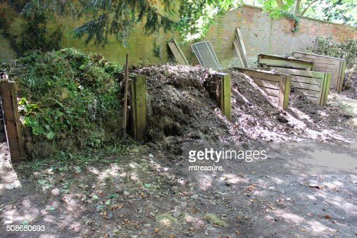Image of wooden compost heaps, shady garden corner, recycling waste : Stock Photo