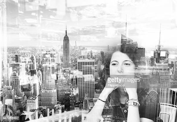Image of young woman superimposed on New York City skyline