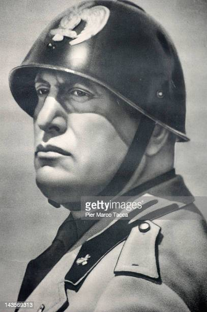 A image reproduced at commemoration ceremony for the death of Italian dictator Benito Mussolini and his mistress Claretta Petacci in front of a...