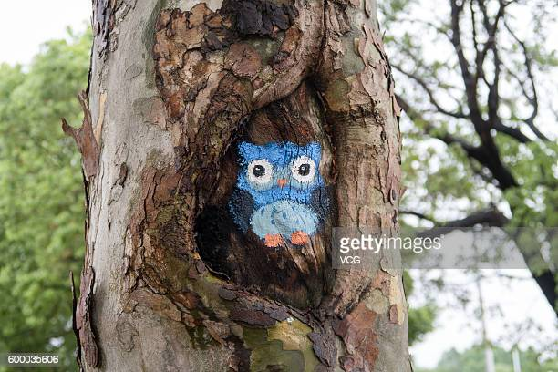 Image shows a painting of owl on a tree hole at Jinhai Road Campus Shanghai Second Polytechnic University on September 7 2016 in Shanghai China...