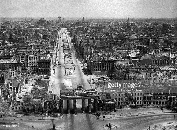 Image shows Berlin devistated at the end of the Second World War The German city suffered relentless airstrikes from the allied forces in 1945
