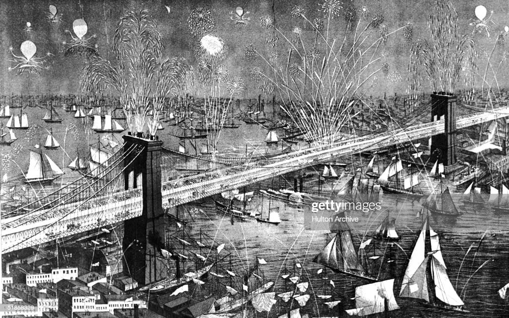 Image shows the view northeast from Lower Manhattan over the Brooklyn Bridge and the East River during the celebrations for the grand opening of the bridge, May 24, 1883. The festivities include fireworks as well as hundreds of watercraft of all kinds encompassing everything from sailboats to paddle wheel steamboats, schooners, and skiffs. At the time the bridge, designed by John Roebling, was the world's longest at 5,989 feet. President Chester A. Arthur attended the opening ceremonies.