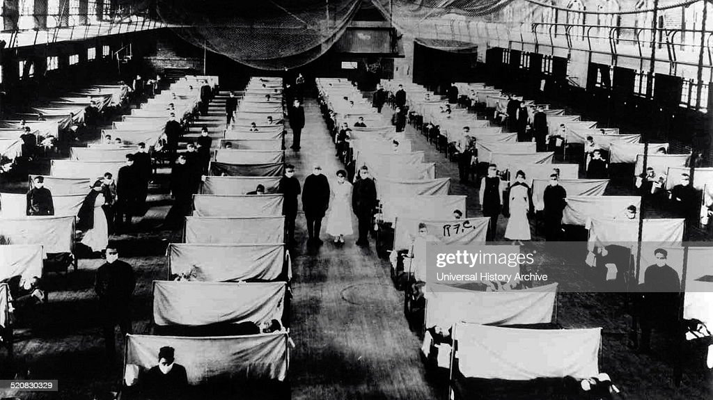 Image shows warehouses that were converted to keep the infected people quarantined The patients are suffering from the 1918 Influenza pandemic a...