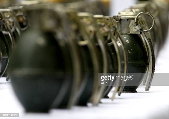 Image taken on February 13 in Cali Valle del Cauca department Colombia of hand grenades part of a seizure of 153 grenades confiscated during the...