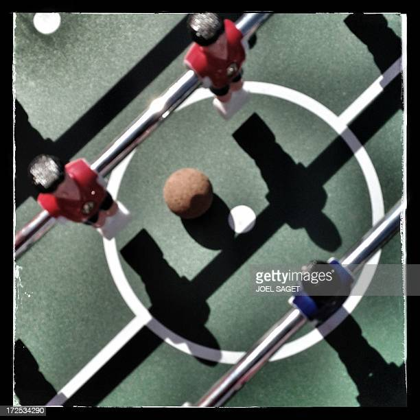 Image taken with a mobile phone shows details of a table football on the Promenade des Anglais in the French southeastern city of Nice before the...