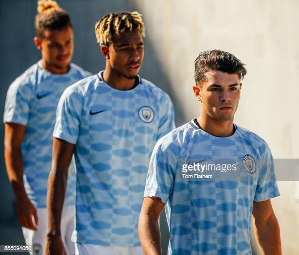 Image was altered with digital filters Manchester City's Brahim Diaz prior to the match at Nissan Stadium on July 29 2017 in Nashville Tennessee