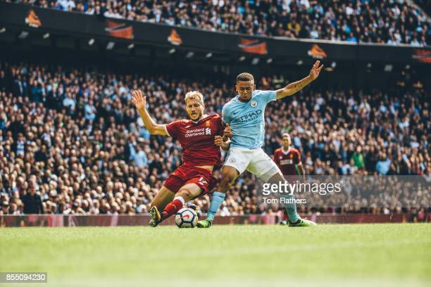Image was altered with digital filters Manchester City's Gabriel Jesus and Liverpool's Ragnar Klavan in action during the Premier League match...