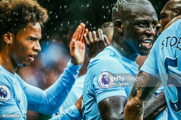 Image was altered with digital filters Manchester City's Leroy Sane celebrates with Benjamin Mendy after scoring to make it 50 during the Premier...