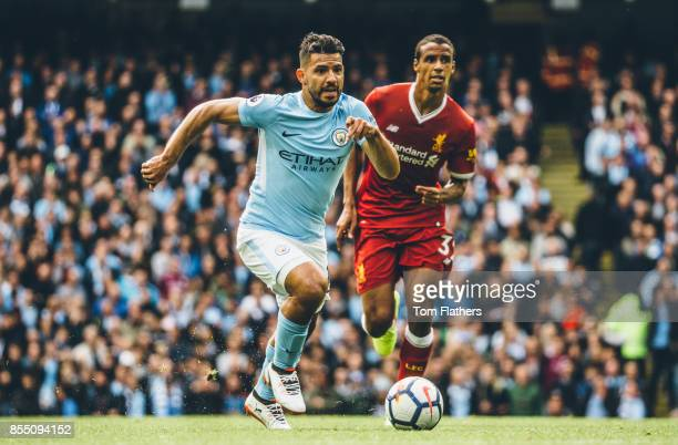 Image was altered with digital filters Manchester City's Sergio Aguero and Liverpool's Joel Matip in action during the Premier League match between...