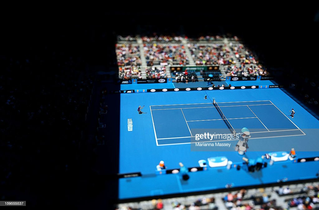Image was created using a variable planed lens.) A general view of Hisense Arena on day three of the 2013 Australian Open at Melbourne Park on January 16, 2013 in Melbourne, Australia.