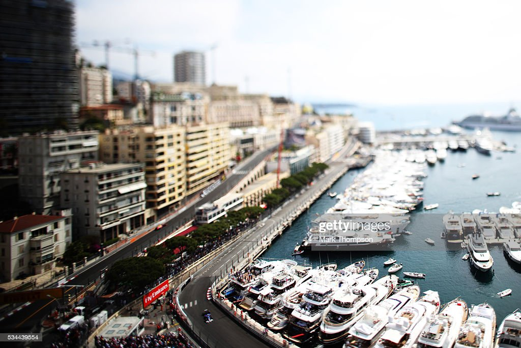 Image was created using a variable planed lens. Fernando Alonso of Spain driving the (14) McLaren Honda Formula 1 Team McLaren MP4-31 Honda RA616H Hybrid turbo on track during practice for the Monaco Formula One Grand Prix at Circuit de Monaco on May 26, 2016 in Monte-Carlo, Monaco.