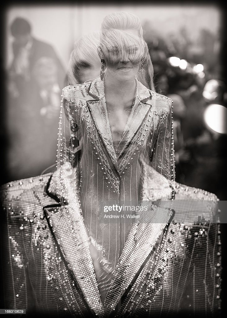image was double-exposed in camera and has been digitally processed and converted to black and white] Elizabeth Banks attends the Costume Institute Gala for the 'PUNK: Chaos to Couture' exhibition at the Metropolitan Museum of Art on May 6, 2013 in New York City.