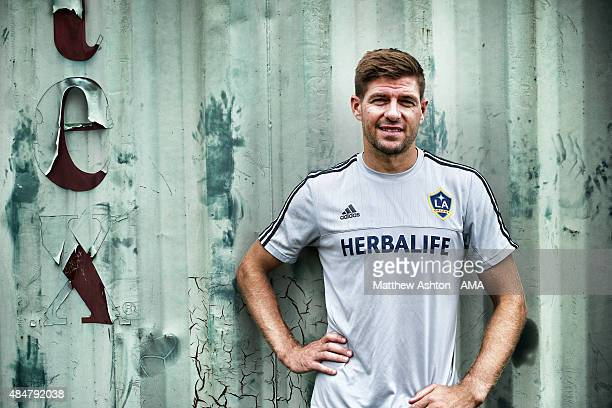 Image was processed using digital filters A portrait of Steven Gerrard after the LA Galaxy training session on August 21 2015 in Los Angeles...