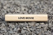 - LOVE-MOVIE - image with words associated with the topic MOVIE, word, image, illustration
