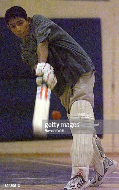Erindale Secondary School cricket star Abdul Faroqi swings the bat during an indoor cricket practise in the school's gymnasium March 28 2000 Faroqi...