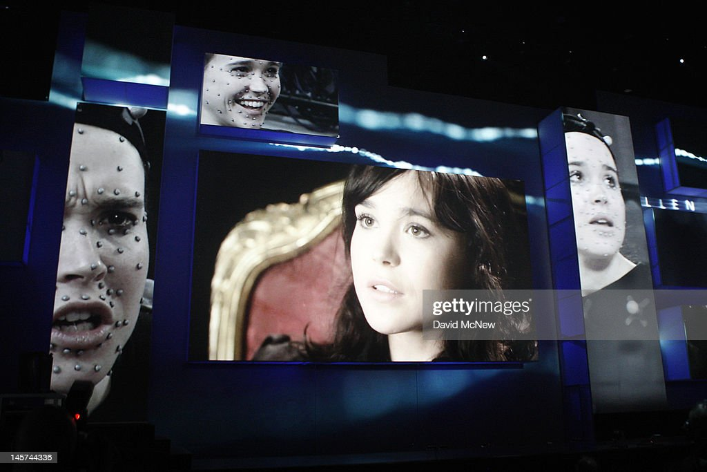 Imagery of actress Jodie Holmes is seen onstage as she is introduced in her role as Page in the new Sony PlayStation 3-exclusive game, 'Beyond', during the Sony 'press conference' on the eve of the Electronic Entertainment Expo (E3) on June 4, 2012 in Los Angeles, California. E3 is the most important yearly trade show the USD 78.5 billion videogame industry.
