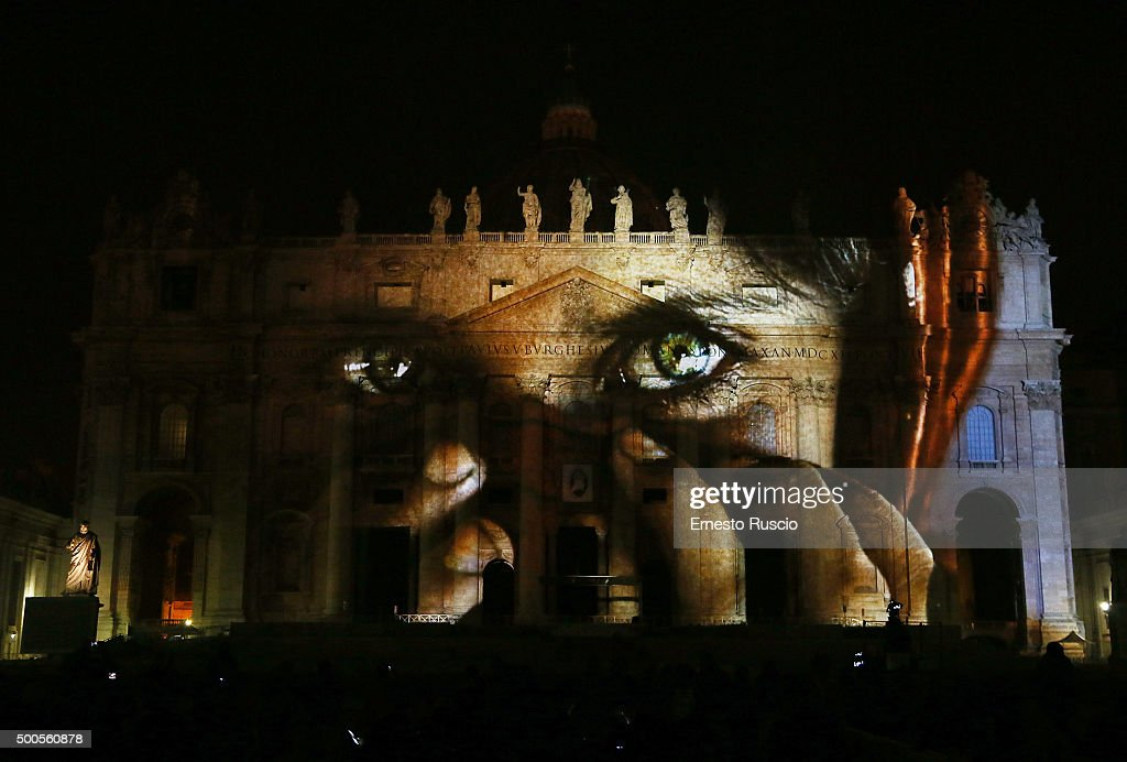 Images are projected onto the walls of St Peter's Basilica during a light Installation at St. Peter's Square on December 8, 2015 in Vatican City, Vatican. The public art projection 'Fiat Lux: Illuminating Our Common Home' featured images of humanity and climate change to celebrate the beginning of the Extraordinary Jubilee of Mercy.