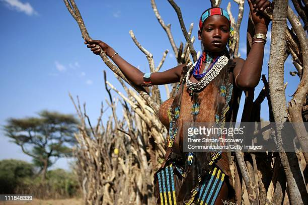 Images of a teenage Hamar girl on December 14 2007 in the Omo Valley South West Ethiopia