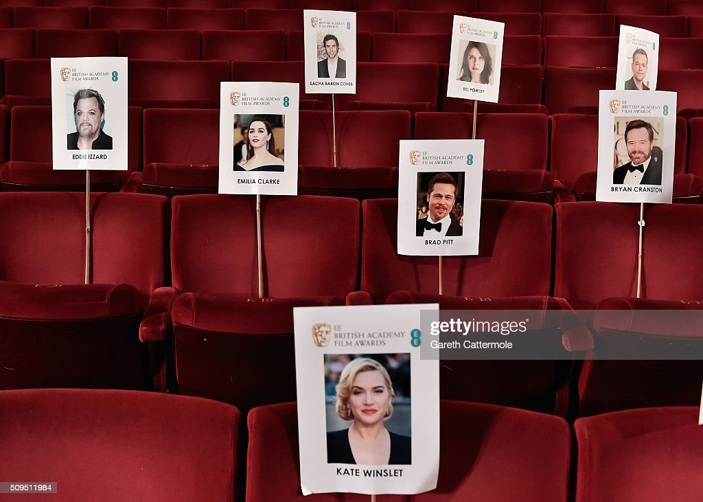 Images of actors are placed at their assigned seats during the annual BAFTA heads on sticks photocall at The Royal Opera House on February 11, 2015 in London, England. The seating plan is set ahead of the British Academy Film Awards 2015 which takes place on Sunday February 14, 2015.
