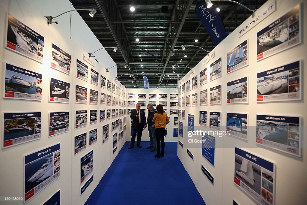 Images of boats for sale on a stand at the 2013 London Boat Show, held at the ExCeL Centre, on January 14, 2013 in London, England. Until January 20, 2013 the London Boat Show will showcase, demonstrate and sell maritime equipment ranging from luxury yachts to dinghies.