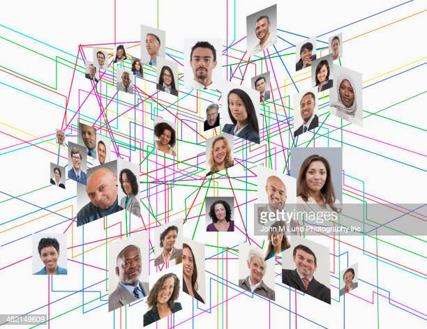 Images of business people in interconnected grid