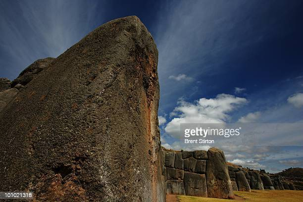 Images of enormous rock structures at Sacsayhuaman an ancient Inca ground overlooking Cuzco Peru 23 June 2007 The Inti Raymi festival is the most...