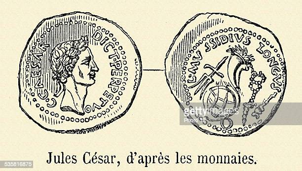 Images of Julius Caesar on currency 19th Century engraving