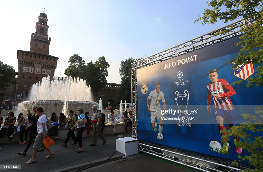 Images of Real Madrid and Atletico Madrid outside Milan castle prior to the final at Stadio Giuseppe Meazza on May 27, 2016 in Milan, Italy.