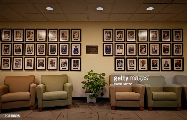 Images of the wall of fame inside Monsanto agribusiness headquarters in St Louis Missouri 21 May 2009 Monsanto is at the forefront of biotechnology...