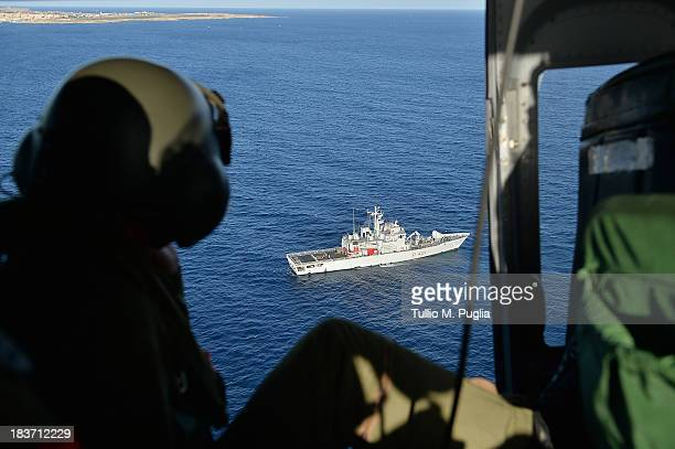 Images taken from a AB412 helicopter with the Second Regiment SIRIO of the Italian Army show Italian Navy ships and the Coast Guard units taking part...