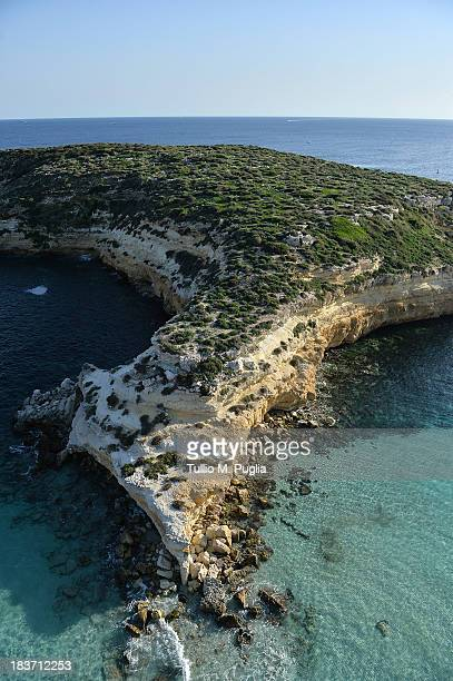 Images taken from a AB412 helicopter with the Second Regiment SIRIO of the Italian Army show Isola dei Conigli along the coast of the Italian island...