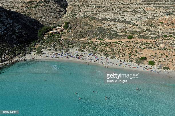 Images taken from a AB412 helicopter with the Second Regiment SIRIO of the Italian Army show a section of the coast of the Italian island of...