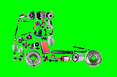 Images truck assembled from new spare parts on green screen