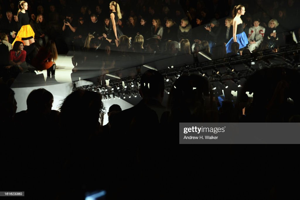 Images were double exposed in camera] Atmosphere of Michael Kors Fall 2013 Mercedes-Benz Fashion Week at Lincoln Center for the Performing Arts on February 13, 2013 in New York City.