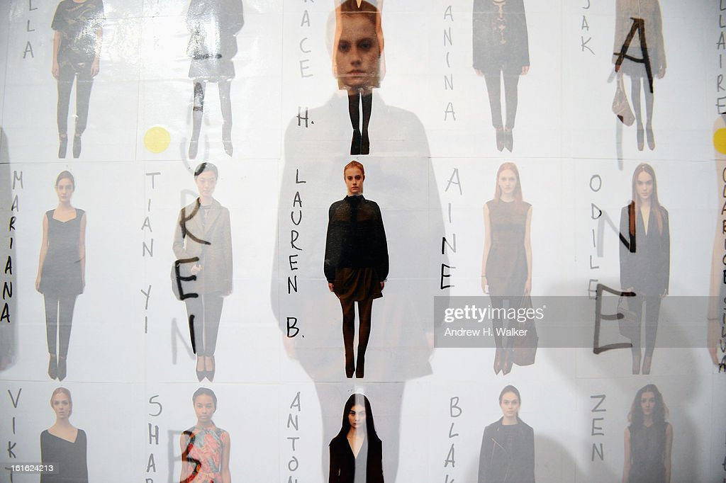 Images were double exposed in camera] Atmosphere of Nanette Lapore backstage Fall 2013 Mercedes-Benz Fashion Week at Lincoln Center for the Performing Arts on February 13, 2013 in New York City.
