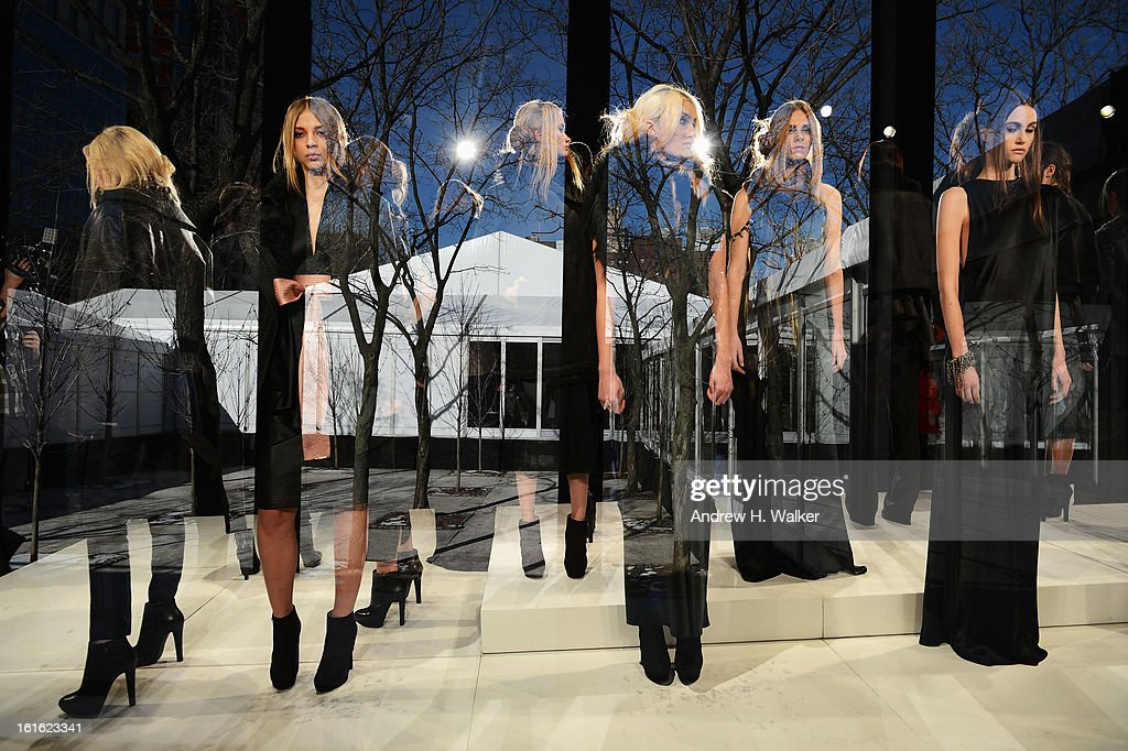 Images were double exposed in camera] Brandon Sun presentation during Fall 2013 Mercedes-Benz Fashion Week at Lincoln Center for the Performing Arts on February 13, 2013 in New York City.
