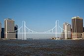 Imaginary bridge connecting cities