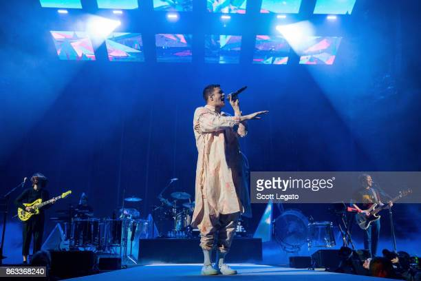 Imagine Dragons perform during their Evolve World Tour at Little Caesars Arena on October 19 2017 in Detroit Michigan
