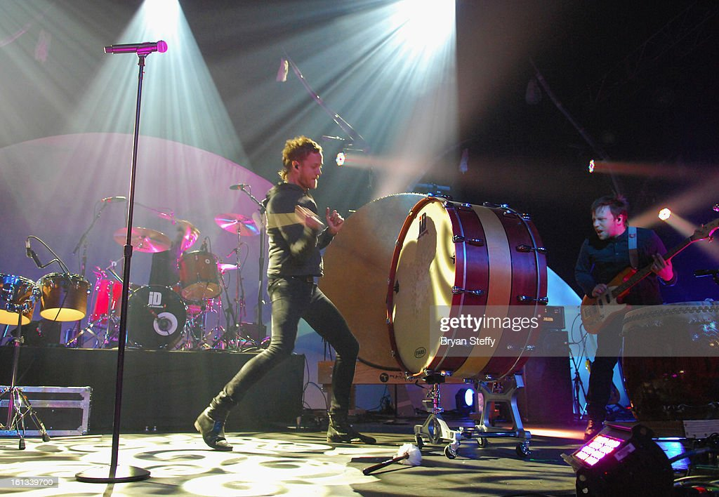 Imagine Dragons singer/drummer Dan Reynolds (L) and bassist Ben McKee perform at The Joint inside the Hard Rock Hotel & Casino as the band tours in support of the album 'Night Visions' on February 9, 2013 in Las Vegas, Nevada.