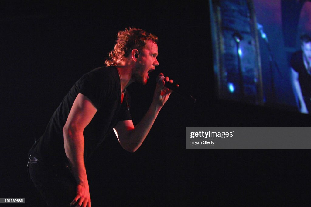 Imagine Dragons singer/drummer Dan Reynolds performs at The Joint inside the Hard Rock Hotel & Casino as the band tours in support of the album 'Night Visions' on February 9, 2013 in Las Vegas, Nevada.
