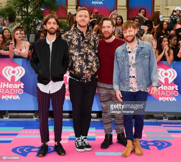 Imagine Dragons' Wayne Sermon Dan Reynolds Ben McKee and Daniel Platzman arrive at the 2017 iHeartRADIO MuchMusic Video Awards at MuchMusic HQ on...
