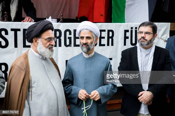 Imam Hamid Reza Torabi and other clerics attend an AlQudsDay demonstration in Berlin Germany on June 23 2017