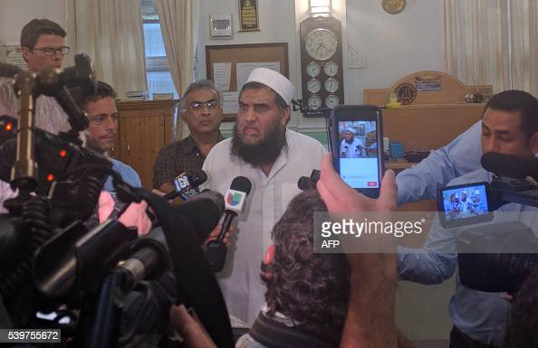 Imam Syed Shafeeq Rahman the Imam of the mosqe that mass shooter Omar Mateen attended speaks to the media in Fort Pierce Florida on June 12 2016 The...