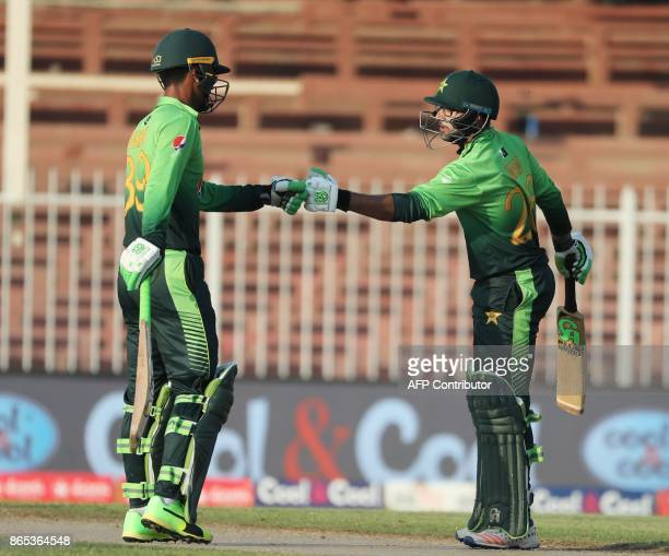 Imam UI Haq and Fakhar Zaman of Pakistan gesture during the fifth one day international cricket match between Sri Lanka and Pakistan at Sharjah...