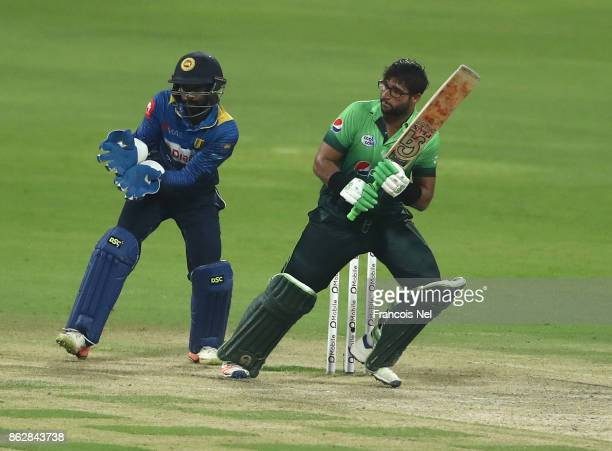 ImamulHaq of Pakistan bats during the third One Day International match between Pakistan and Sri Lanka at Zayed Cricket Stadium on October 18 2017 in...