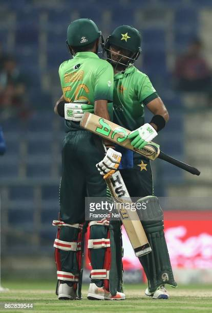 ImamulHaq of Pakistan celebrates after reaching his half century during the third One Day International match between Pakistan and Sri Lanka at Zayed...