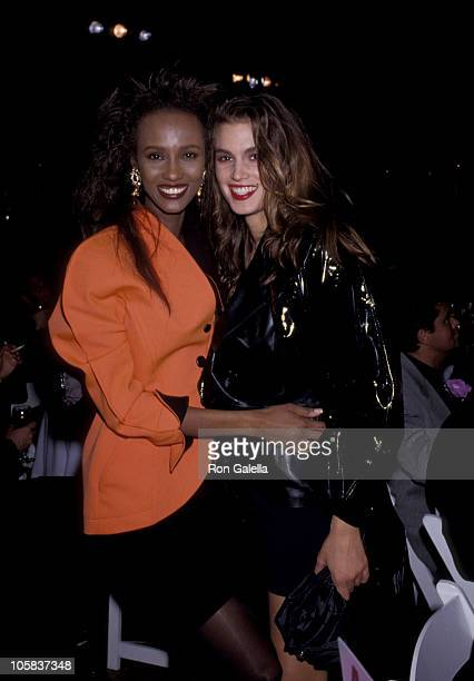 Iman and Cindy Crawford during 'The Love Ball' AIDS Benefit May 10 1989 at Roseland Ballroom in New York City New York United States