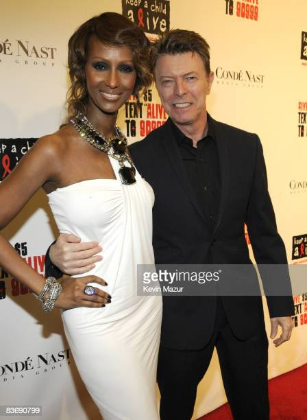 Iman and David Bowie arrive at Keep A Child Alive's 5th annual Black Ball at Hammerstein Ballroom on November 13 2008 in New York City