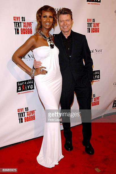 Iman and David Bowie attends the Keep a Child Alive organization's 5th annual Black Ball at The Hammerstein Ballroom on November 13 2008 in New York...